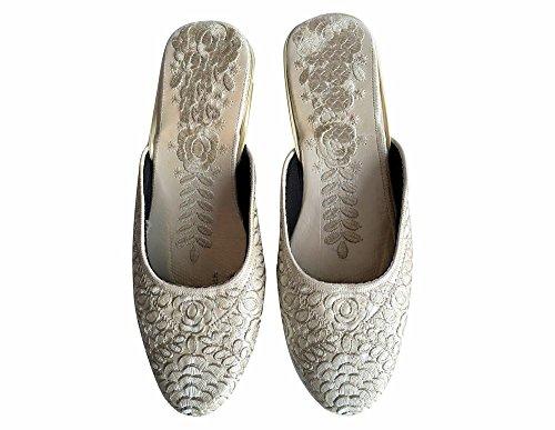 Étape N Style Khussa Chaussures Mojari Jutti Salwar Kameez Saree Ethnique Chaussures Indiennes Jooti Argent