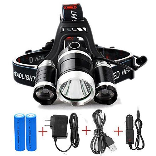 EXCELLLIGHT SUPER HEADLAMP - 12000 LUMEN 3T6 Zoom Led Headlight Waterproof Hard Hat 3 Light 4 Modes for Outdoor Activities (Option C)