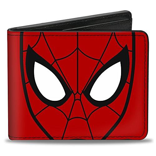 ULTIMATE SPIDER-MAN_x000D_ Bi-Fold Wallet - Spider-Man Face CLOSE-UP + Spiders Red/Black -