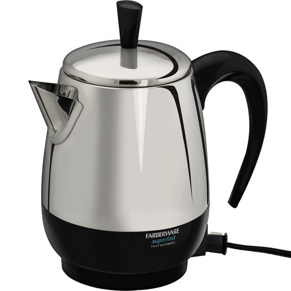 Farberware Fcp240 Steel Percolator 4Cup 1000W Detachable Cord