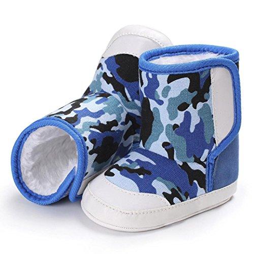 Hunpta Camouflage Baby Soft Sole Schnee Stiefel Soft Crib Schuhe Kleinkind Stiefel Dark Blue