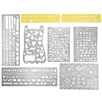 OPount 8 In 1 Stainless Steel Portable Drawing Painting Stencils Graffiti/Web UI/Life/Curve/Cat/Flower/Vintage Brass Alphabet and Number Template Ruler Stencils