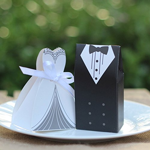 Awtlife 100 pcs Wedding Favor Box Bride & Groom Dress Tuxedo Party Favor Dress & Tuxedo Bride and Candy Box