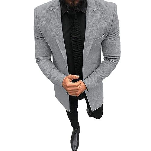 zarupeng Abrigo contra el viento para hombres, Otoño Invierno Slim Fit Traje de manga larga chaqueta Trench Coat Top Blusa: Amazon.es: Zapatos y ...