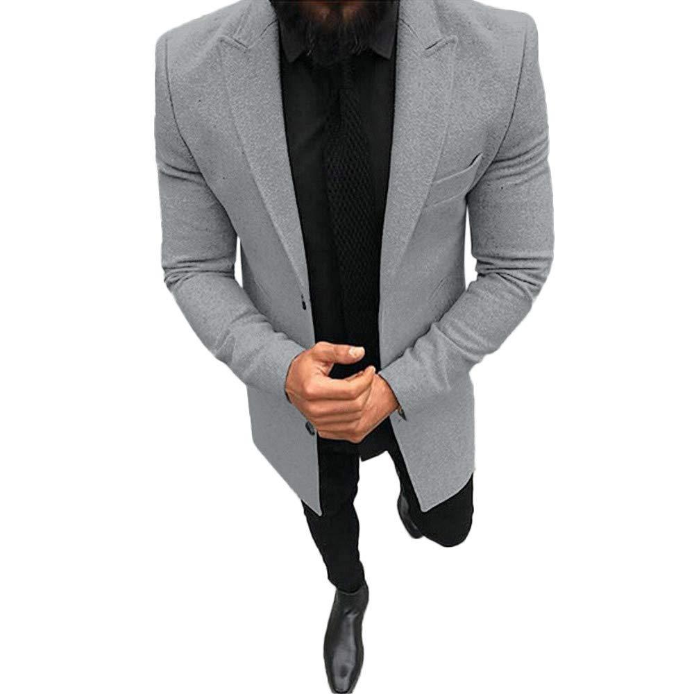 Men's Blazer Slim Fit Casual Solid Color Sport Coats Lightweight One Button Suit Jacket Coats Business Lapel Suit Gray