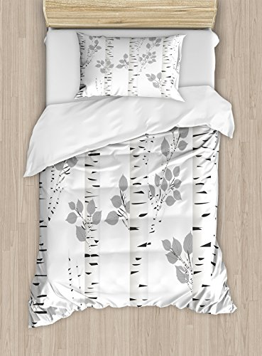 Ambesonne Birch Tree Duvet Cover Set Twin Size, Artistic White Branches with Leaves Autumn Nature Forest Inspired Image Print, Decorative 2 Piece Bedding Set with 1 Pillow Sham, Grey White