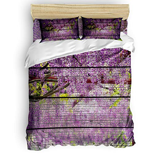 Luxury Duvet Cover Set Soft Bed Sheet Sets,Include 1 Flat Sheet 1 Comforter Cover and 2 Pillow Shams,Wood Grain Effect,Wisteria Bedding Set Zipper Closure,King - Wisteria Comforter King