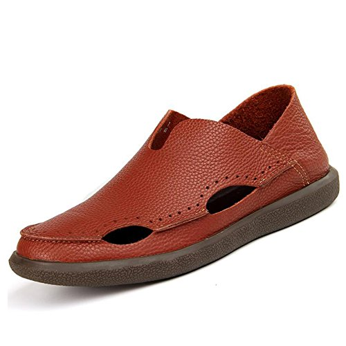 Slippers Shoes Summer Men's Brown Sandals Black for Casual Slip Comfort On Leather Spring Outdoor A Athletic HUAN qSBCw