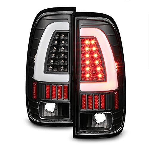 Xtune 1997-2003 F150, 1999-2007 F250/F350 Black Fiber-Optic-Light-Bar LED Tail Lights 2000 2001 2002 2003 Pair L+R