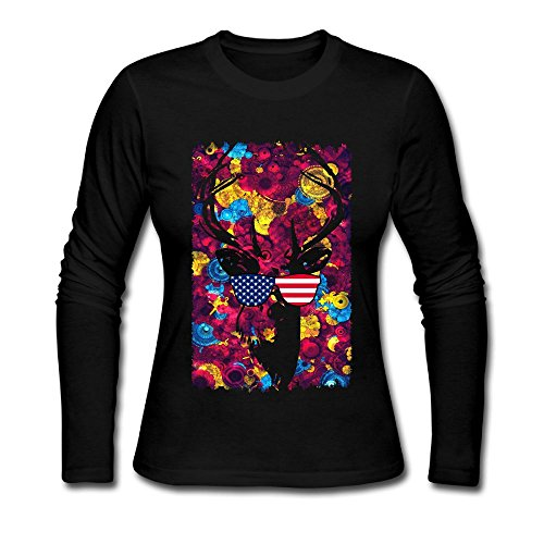 Women's Mysterious Deer With Flag Glasses Long Sleeve Athletic Cotton Crew Neck - Africa Clothing Versace South