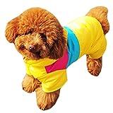 Pet Dog Coat Ski Wear Puppy Winter Clothes Teddy Four-legged Jumpsuit (L  (Chest44-48cm Back30cm Collar34cm), Yellow)