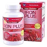 Folic Acid Hair Growth Pure Micronutrients Iron Plus Supplement, Natural Ferrous Chelate, Bisglycinate 25mg + Vitamin C, B6, B12, Folic Acid, 120 Count