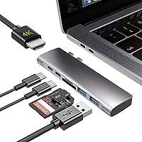 Macbook ハブ Macbook Pro ハブ Macbook Air ハブ USB Type C 変換 4K HDMI Thunderbolt 3 100W PD 充電 マイクロSD/SDカードリーダー...