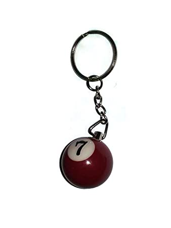 1 Inch Number 7 SEVEN Mini Billiard Snooker POOL BALL Key Chain Ring Keychain