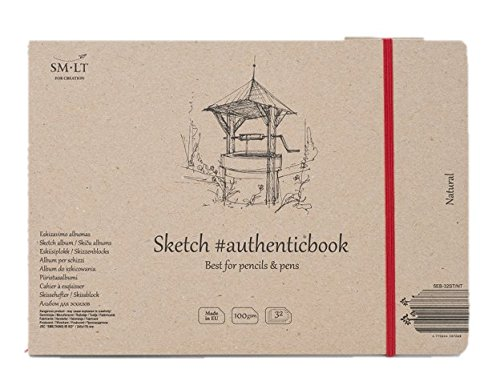 SMLT with Model 32ST/NT Authentic Line Stitched 245X176 mm Authenticbook Sketch Pad 100gsm Recycled Paper 32 Sheets