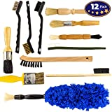 Pro-grade Auto Detailing Brush Kit 12 Pack. Ultra Value Set For Interior and Exterior Car Care. Clean Every Crevice with Gentle - Scratch-Free Natural Detailing Brushes and Heavy-Duty Wire Scrubbers