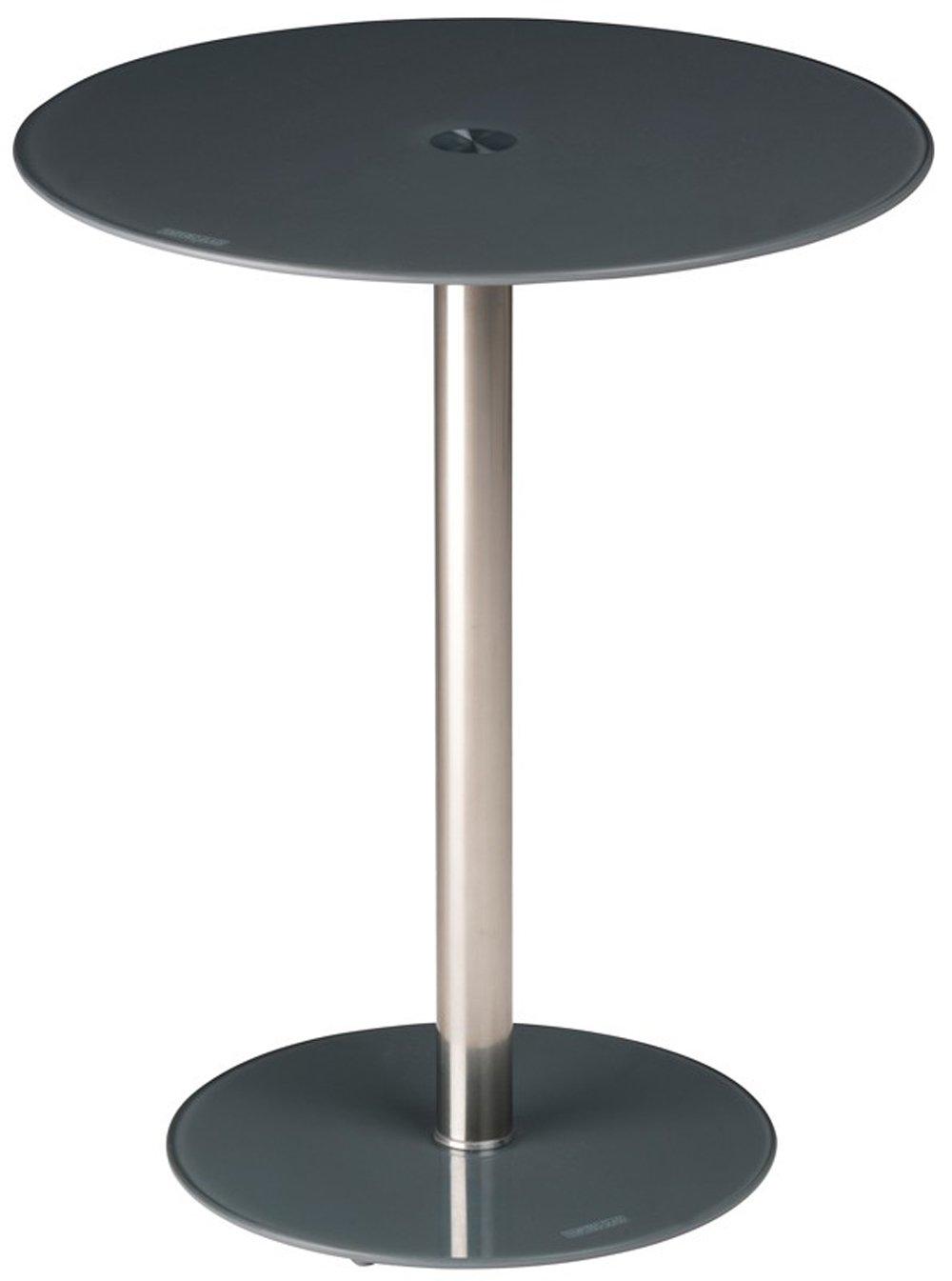 Tavolino in vetro temperato e acciaio da salotto camera da letto ufficio rotondo 43x51x5 cm grigio B60 Stylehome