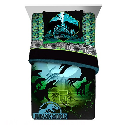 Parka Blue Set Polyester (LO 2 Piece Kids Black Blue Green Jurassic Park Comforter Twin/Full Set, Dinosaur Bedding T-Rex Raptor Jarassic World Themed Reptiles, Reversible Polyester)