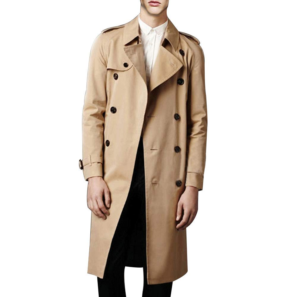 1950s Men's Clothing LINGMIN Mens Double Breasted Trench Coat Casual Lapel Long Sleeve Windbreaker Jacket $59.97 AT vintagedancer.com
