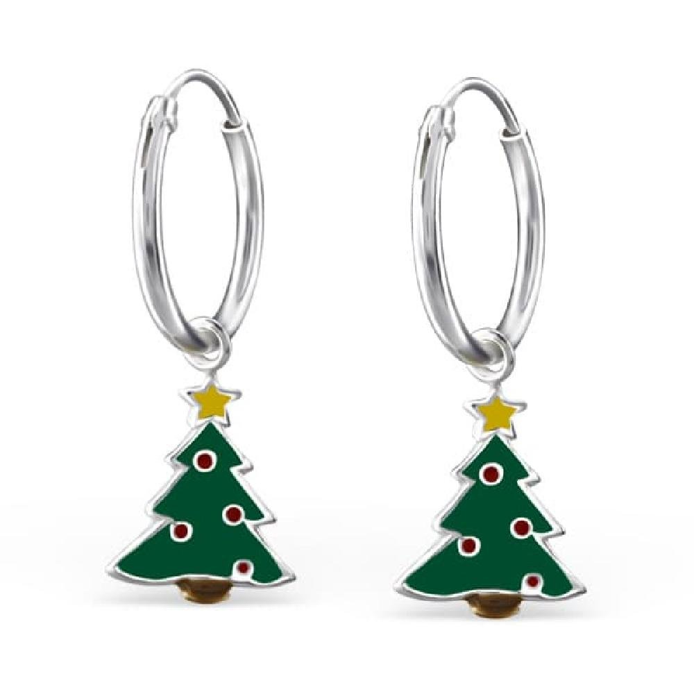 Childrens 925 Sterling Silver Christmas Tree Earrings Epoxy Color So Chic Jewels