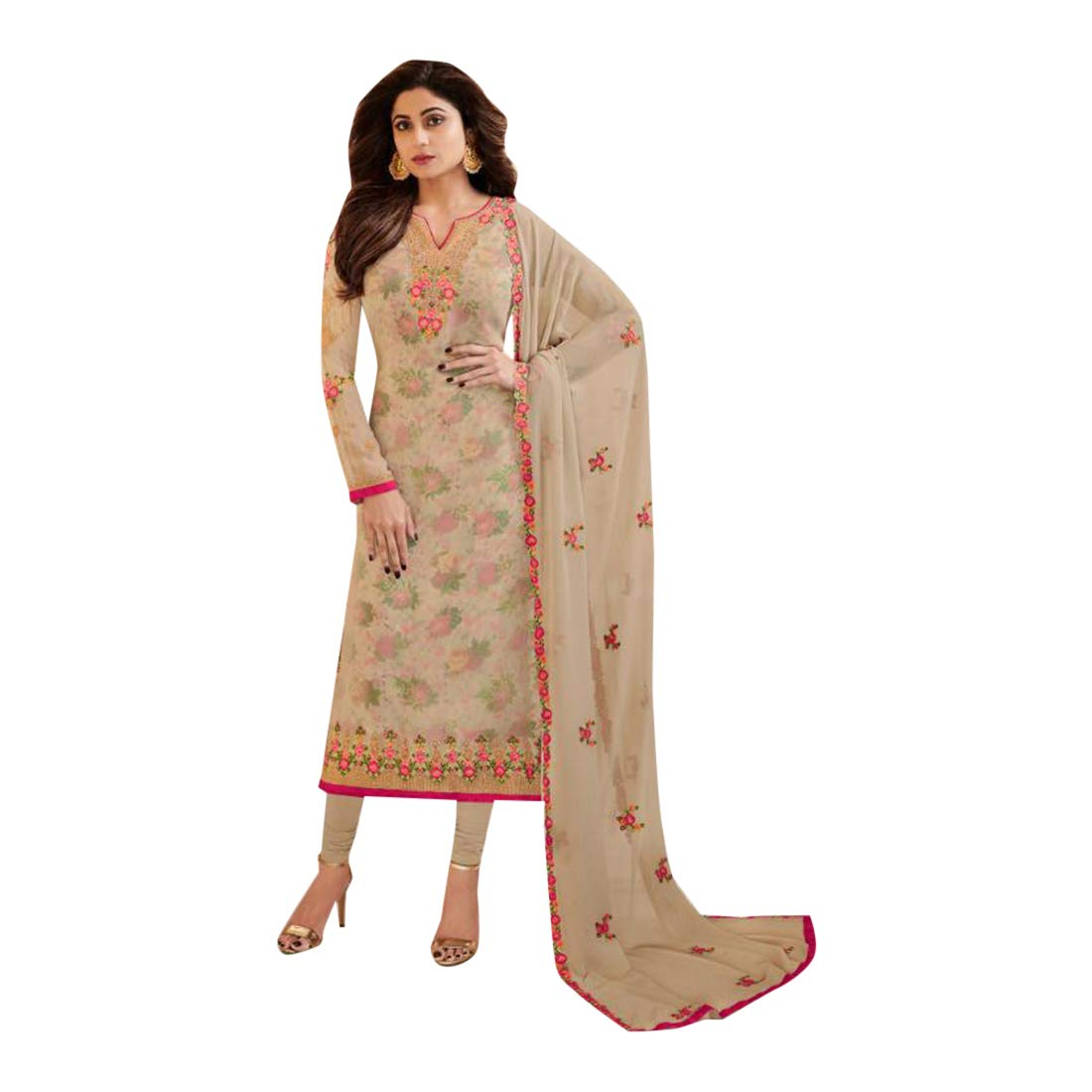 Beige SHRI BALAJI SILK & COTTON SAREE EMPORIUM Indian Ethnic Long Hindu Muslim Straight Salwar Kameez Suit 7398