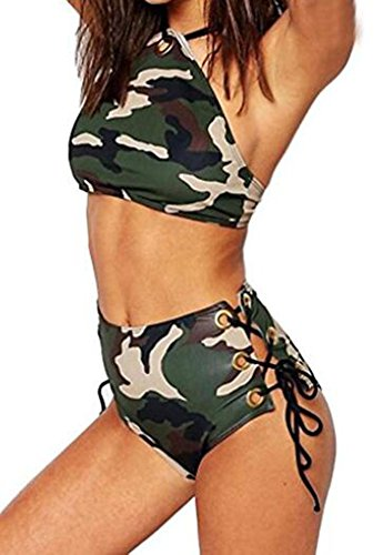 Ibelive Damen Bikini-Set grün camouflage