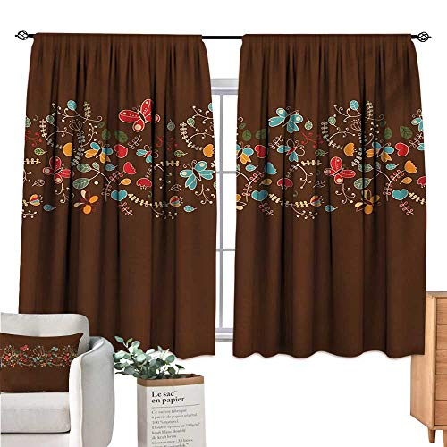 Warm Family Chocolate Kitchen Curtain Romantic Valentines Day Inspired Colorful Pattern with Butterflies and Flowers Multicolor Light Curtain W72 x ()