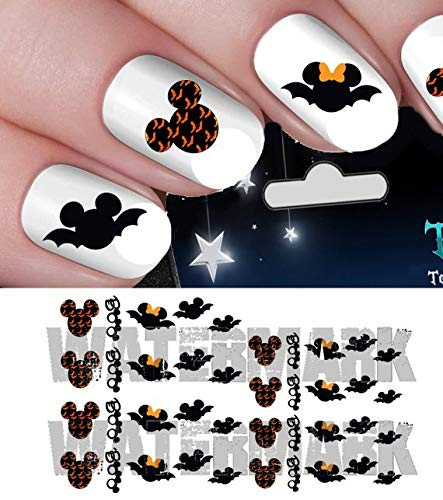 BOO halloween scary disney Mickey Mouse & Minnie Mouse bats heads nail art waterslide decals nail design set #h5 -