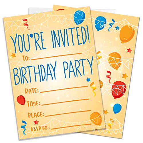 Cheap Party Invitations (Party Invitations for Boys, Girls, Kids | 25 Invite Cards with Envelopes | Birthday Party)