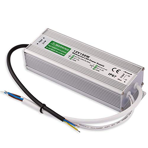 - Outdoor LED Transformer, 150W LED Driver to 12 Volt DC Output, IP67 Waterproof LED Power Supply, 90V-250V/12.5A for LED Light, Computer Project, Outdoor Light
