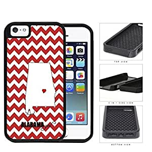 Alabama State Girl With Heart And Chevron 2-Piece Dual Layer High Impact Hard shellSilicone Cell Phone Case Case For Iphone 6 Plus 5.5 Inch Cover