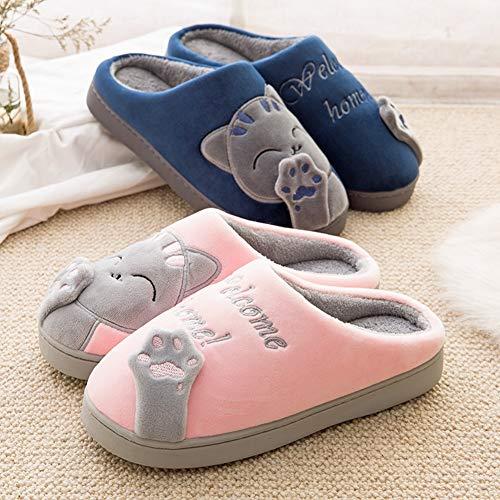 Accueil Saguaro Doublure Douce Chaussons Intérieure Slippers Hiver Homme Coton Chaussures Chat Automne Femme Mules Bleu Pantoufles Peluche qxYw7qprH