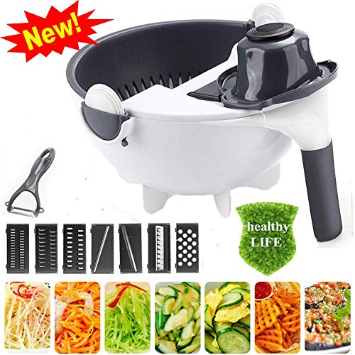 New Upgrade 9 in 1 Multi-Functional Magic Rotate Vegetable Cutter with Drain Basket Portable Vegetables Choppers Mincers Veggie Fruit Shredder Grater Slicer Kitchen Utensils Gadgets