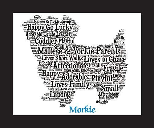 (Morkie Dog Wall Art Print - Personalized Pet Name - Gift for Her or Him - 11x14 matted - Ships 1 Day)