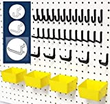 (US) WallPeg 43 Pc. Peg Board Storage System - Pegboard Hook Assortment Organizer Bins Y/B # AM 302- 2