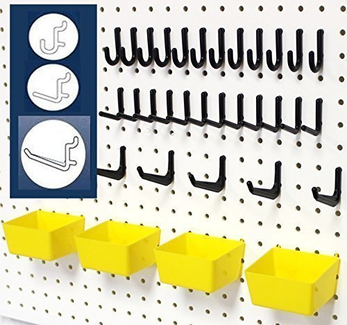 WallPeg 43 Pc. Peg Board Storage System - Pegboard Hook Assortment Organizer Bins Y/B # AM 302- 2 (Board Pegs)