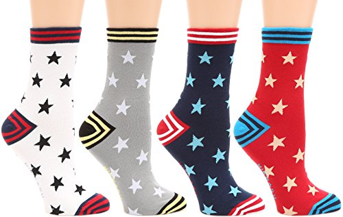 - MIRMARU Women's 4 Pairs Famous Painting Art Printed Funny Novelty Casual Cotton Crew Socks. (OD-W-058)