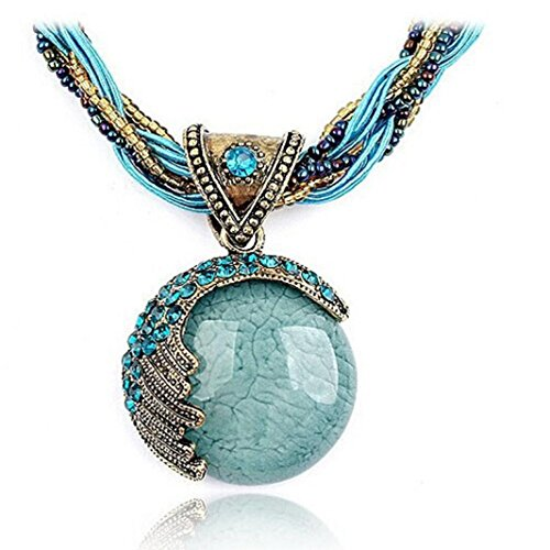 Challyhope Fashion Retro Bohemian Turquoise Stone Pendant Collar Statement Chunky Necklaces Rhinestone Gem Jewelry for Women Beach Hawaii (Blue)
