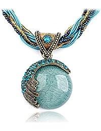 Fashion Retro Bohemian Turquoise Stone Pendant Collar Statement Chunky Necklaces Rhinestone Gem Jewelry for Women...