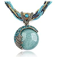 Challyhope Fashion Retro Bohemian Turquoise Stone Pendant Collar Statement Chunky Necklaces Rhinestone Gem Jewelry for Women Beach Hawaii