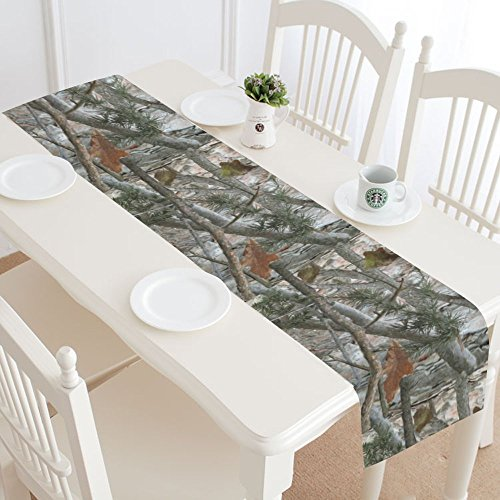 InterestPrint Cool Military Camouflage Camo Tree Table Runner Linen & Cotton Cloth Placemat Home Decor for Wedding Banquet Decoration 16 x 72 Inches -