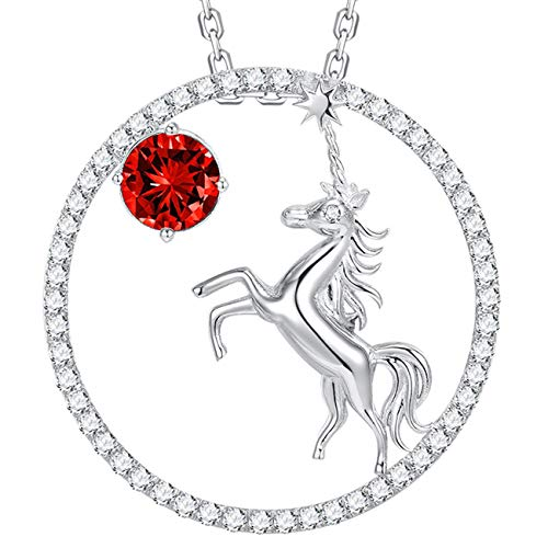 July Birthstone Necklace LC Red Ruby Unicorn Jewelry Birthday Gift For Girls Teens Sterling Silver Swarovski