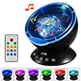 Remote Control Ocean Wave Projector, BESWILL Night Light with 12LED & 7 Color Charging Modes Built in Mini Music Player for Kids Bedroom Living Room (Black)