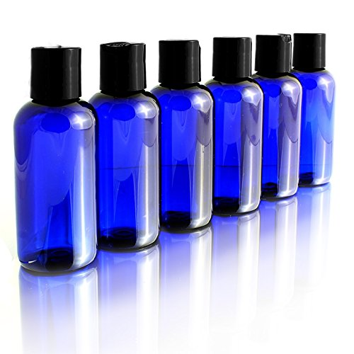 4oz Empty Cobalt Blue Plastic Squeeze Bottles with Disc Top Flip Cap (6 pack); BPA-Free Containers For Shampoo, Lotions, Liquid Body Soap, Creams (4 ounce, Cobalt ()