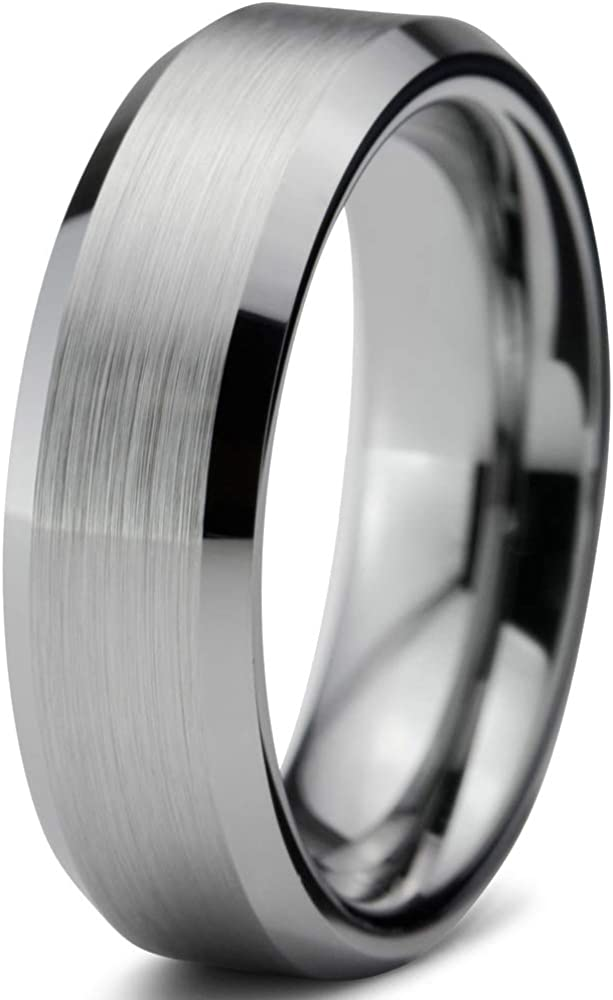 Comfort Fit Beveled Edges Engagement Ring Tungsten Wedding Band Anniversary Ring Black Tungsten Band Men Tungsten Wedding Ring