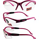 Cougar Safety Glasses, Clear Lens, Hot Pink Frame