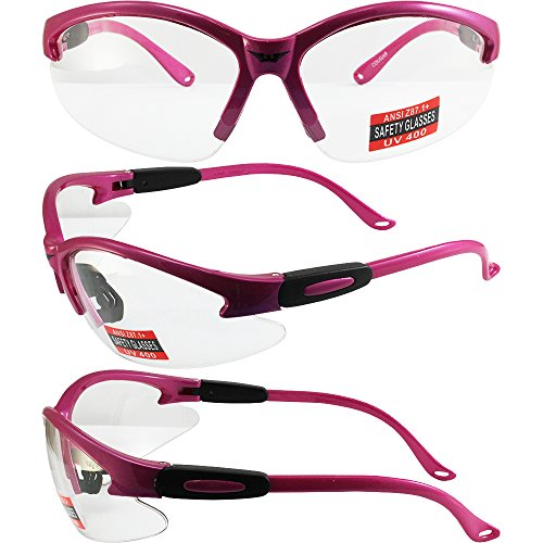 Cougar Safety Glasses, Clear Lens, Hot Pink - Pink Safety Hot Glasses