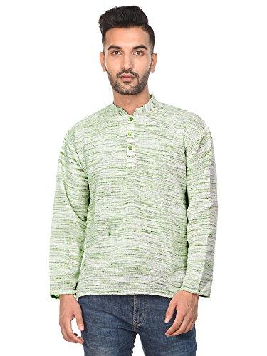 SKAVIJ Mens T- Shirt Kurta Long Sleeve Casual Button Down Cotton Tunic Kurta Dress by SKAVIJ