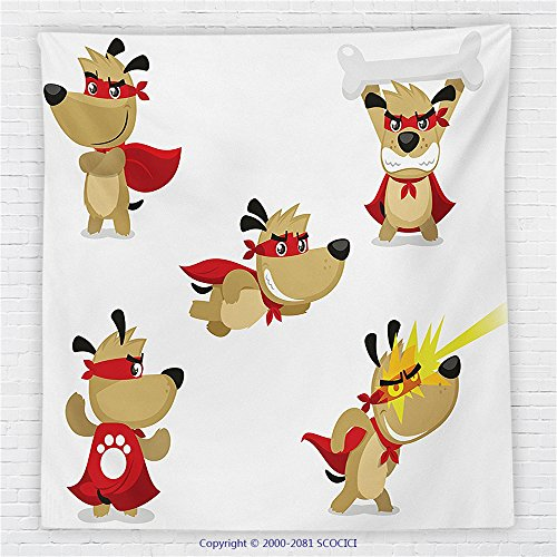 59 x 59 Inches Dog Lover Decor Fleece Throw Blanket Superhero Puppy with Paw Costume and Mystic Powers Laser Vision Supreme Talents Blanket