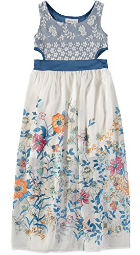 Sundress Bonnie Jean - Bonnie Jean Girls' Big Sleeveless Maxi Length Dress, Blue Floral 16